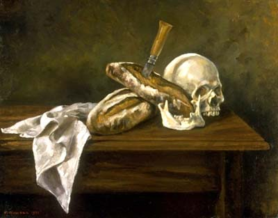 Elsie Russell, Skull and Bread, 1992, oil on linen, 16